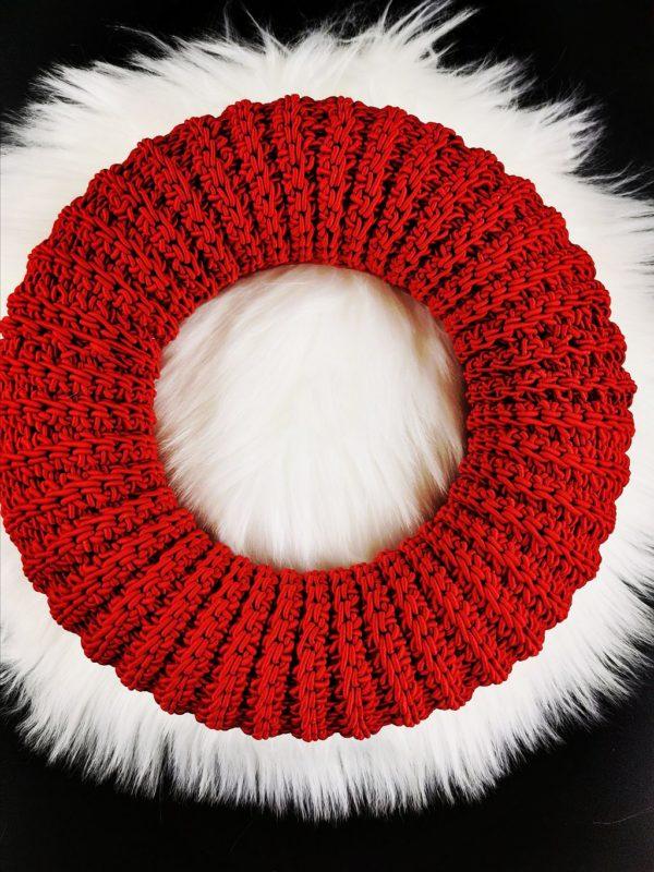 horgolt koszorú piros